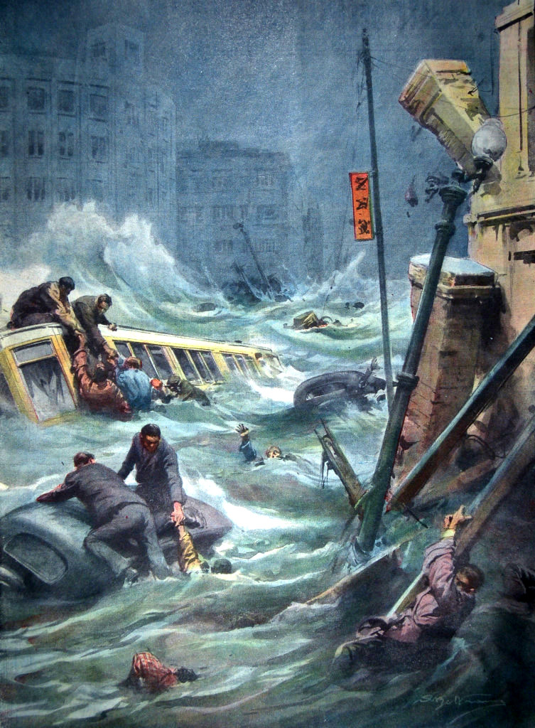 I Disegni di Achille Beltrame: La città di Kobe devastata