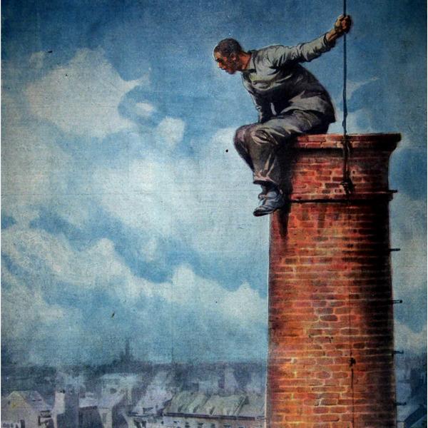 I Disegni di Achille Beltrame: Libero... sulla cima di un fumaiolo