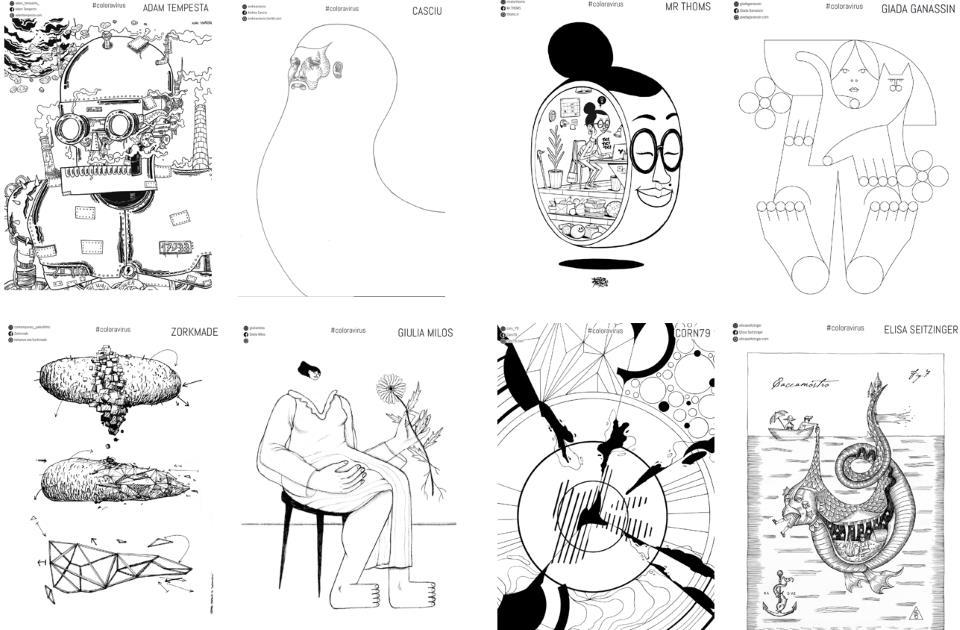 E' online lo sketch-book con 100 disegni di oltre 50 artisti da colorare a casa