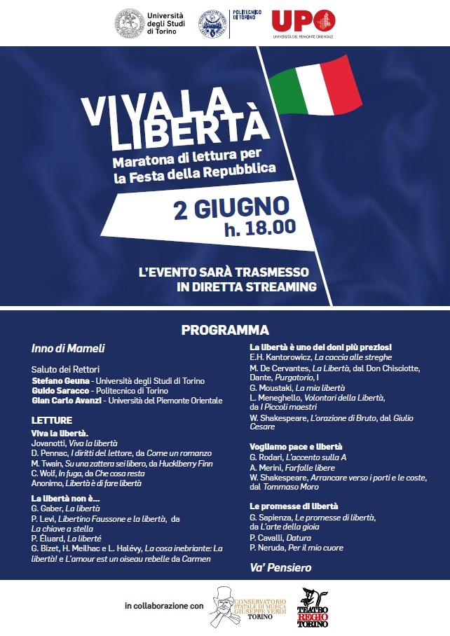 Viva la libertà - Maratona di letture per la Festa della Repubblica