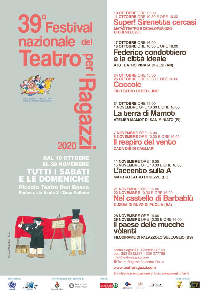 """Festival nazionale del Teatro per i Ragazzi """"G. Calendoli"""" 2020"""