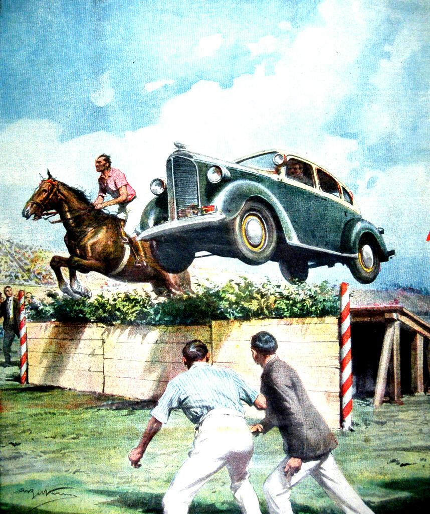 """I Disegni di Achille Beltrame: """"L'automobile contro il cavallo"""""""