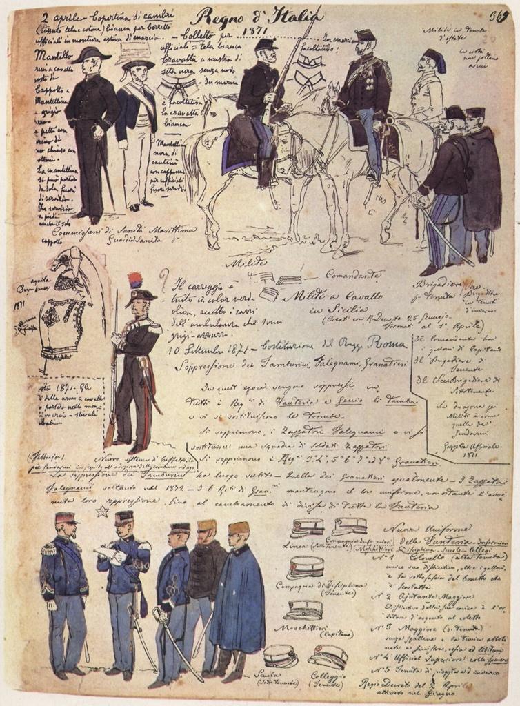 Uniformi militari - Il Codice Cenni: Tavola 13