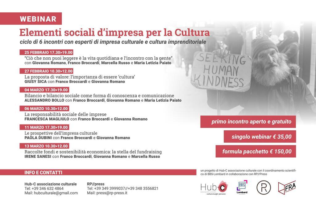"""Webinar: """"Elementi sociali d'impresa per la Cultura"""""""