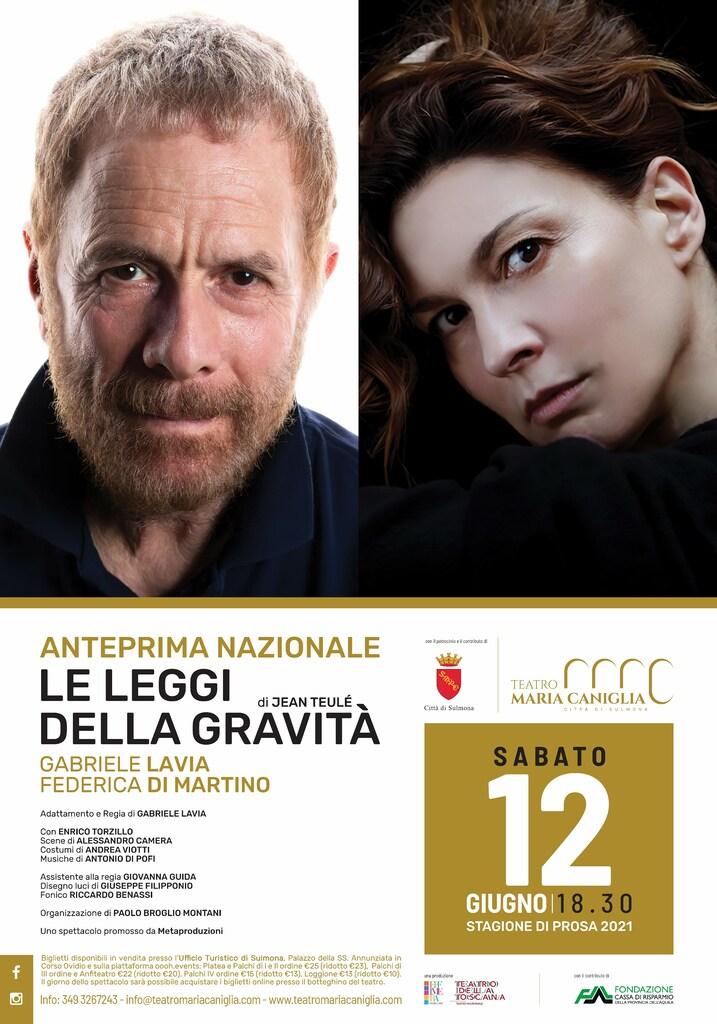 """Teatro: """"Le leggi della gravità"""" con Gabriele Lavia e Federica Di Martino"""