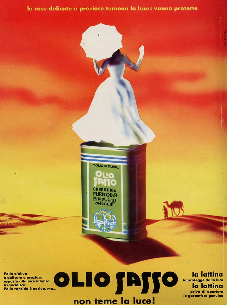 """Pausa Pubblicità: """"Olio Sasso non teme la luce!"""" (1958)"""