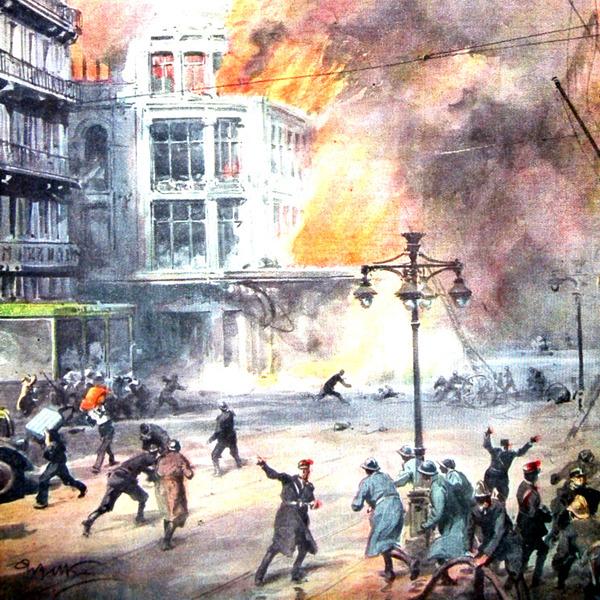 """I Disegni di Achille Beltrame: """"Lo spaventoso incendio nel centro di Marsiglia"""""""